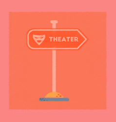 Flat shading style icon theater sign vector