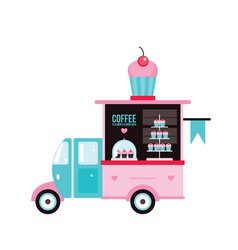 Food truck fast food cafe delicious sweet desserts vector