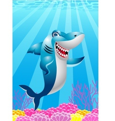 Funny shark cartoon vector image vector image