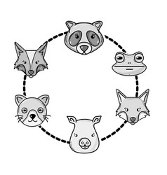 grayscale set cute heads wilds animals design vector image