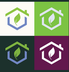 home green abstract logo vector image