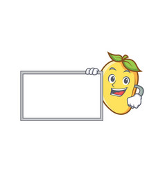 Mango character cartoon mascot with board vector