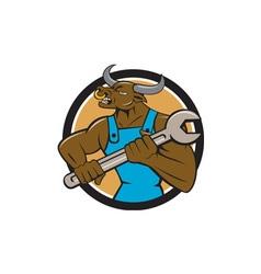 Mechanic minotaur bull spanner circle cartoon vector