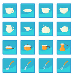 Pastry set icon blue app vector