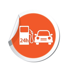Petrol station and car orange label vector