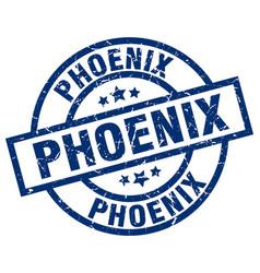 Phoenix blue round grunge stamp vector
