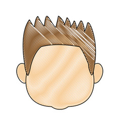 Profile boy kid young head character vector
