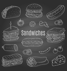 sandwich set sketch vector image