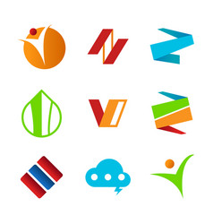 Set of abstract corporate symbols design vector