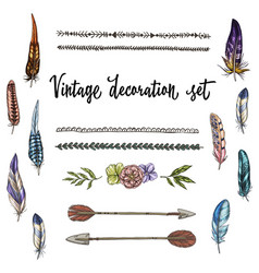 set of hand drawn vintage decor elements isolated vector image vector image