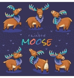Set with hand drawn elks vector image vector image