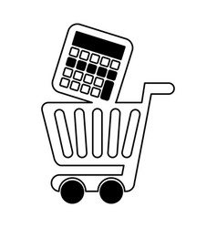 Shopping cart with calculator vector