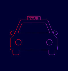 taxi sign line icon with vector image