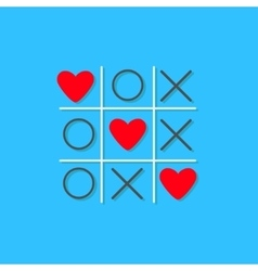 Tic tac toe game with cross and three red heart vector
