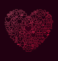 valentine day line icon heart concept vector image vector image