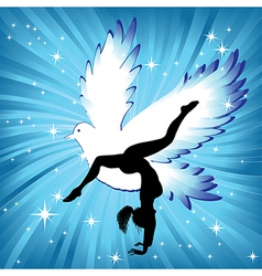 Woman in yoga bird asana sport vector image