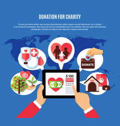 Worldwide donation application concept vector