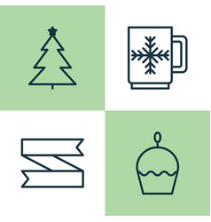 Year icons set collection of decorated tree vector