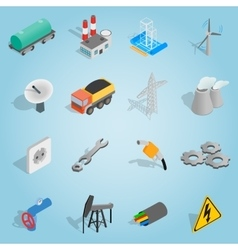 Industrial set icons isometric 3d style vector