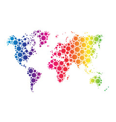 World map wallpaper mosaic of dots in rainbow vector