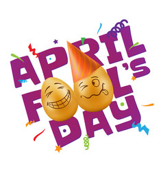 To april fools day with eggs vector