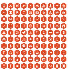 100 museum icons hexagon orange vector