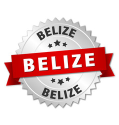 Belize round silver badge with red ribbon vector