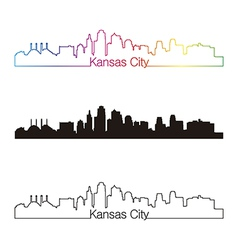 Kansas City skyline linear style with rainbow vector image