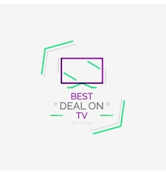 Minimal line design shopping stamps tv vector