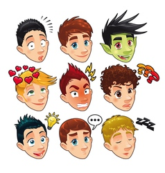 Various expressions of boys vector