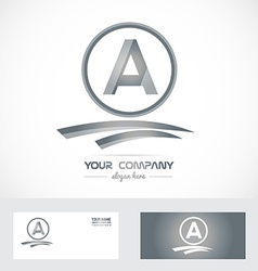 Letter a silver grey logo icon vector