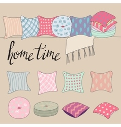Colored pillows or cushions for home interior vector