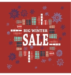Winter sale background with white lettersgifts vector