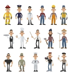 Cartoon men of 16 different professions vector