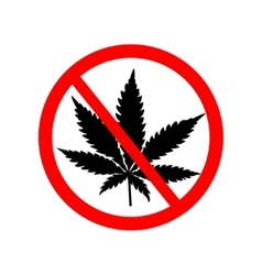 Prohibition sign with marijuana leaf vector