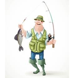 Fisherman in rubber boots with a caught fish and a vector