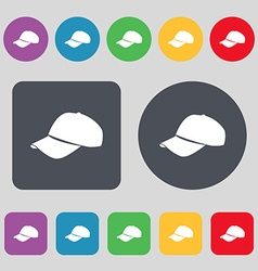 Baseball cap icon sign a set of 12 colored buttons vector