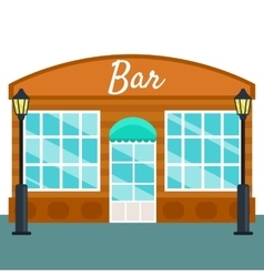 Bar building front exterior flat style vector