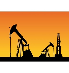 Oil rig and pump vector image