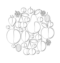 Silhouettes of berries and fruits imitation vector
