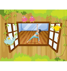 A girl doing yoga near the window vector image vector image