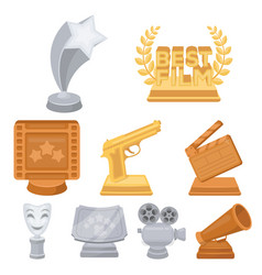 A set of awards for the movie viewings gold vector