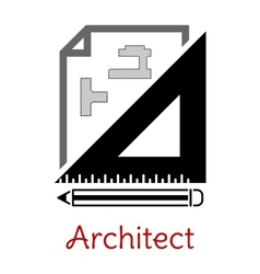 Black and white architect icon vector