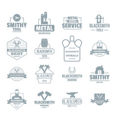 Blacksmith metal logo icons set simple style vector