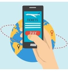Booking online flights travel vector