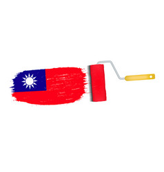 brush stroke with taiwan national flag isolated on vector image