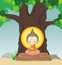 Buddha sitting on lotus flower under tree vector