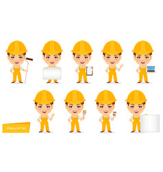 Builder woman funny female worker with big head vector