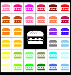 burger simple sign felt-pen 33 colorful vector image