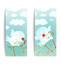 Cartoon Fun and Cute Baby Birds Flyer Design vector image vector image